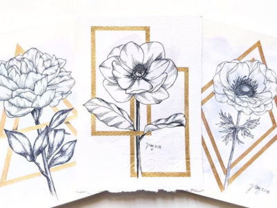 "Floral Illustration for ""Golden Framed Flowers"" by Akbaly Prints Postcards Ink Watercolor"