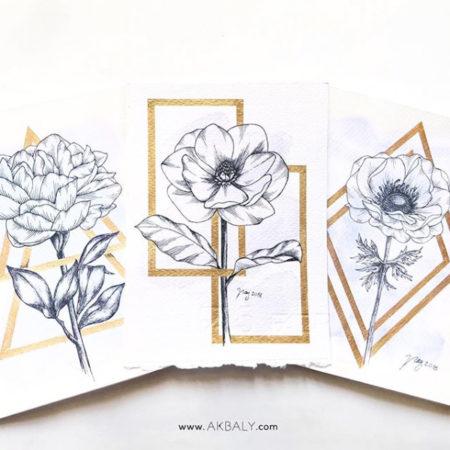 "Floral Illustration for ""Golden Framed Flowers"" by Akbaly Prints Postcards Ink Watercolor"