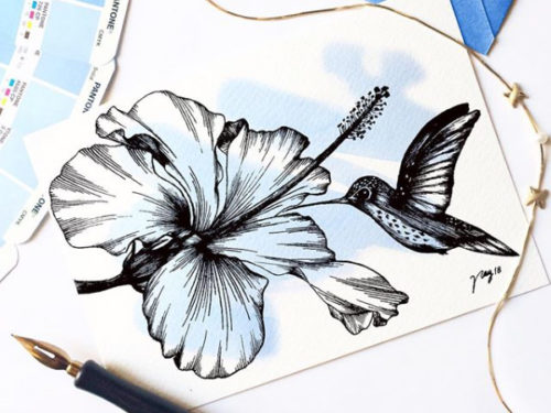 "Floral Illustration for ""Hummingbird and Hibiscus"" by Akbaly Prints Postcards Ink Watercolor"