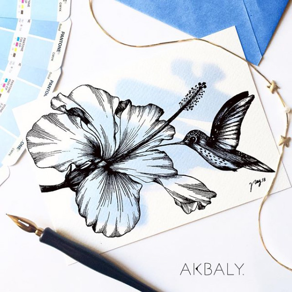 """Floral Illustration for """"Hummingbird and Hibiscus"""" by Akbaly Prints Postcards Ink Watercolor"""