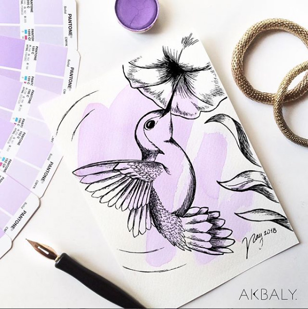 Illustration All In Purple Floral Collection Hummingbird Prints Postcards Ink Watercolor