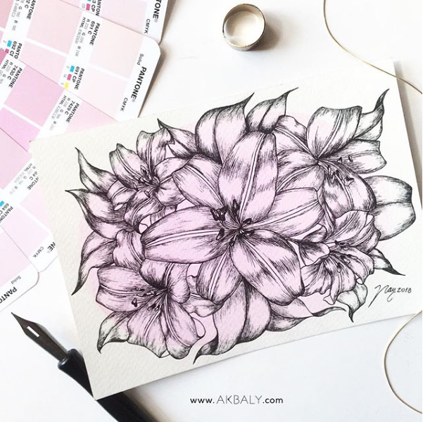 Illustration All In Purple Floral Collection Lilies Prints Postcards Ink Watercolor