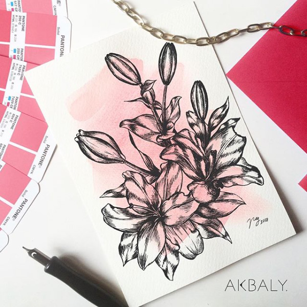Illustration All In Fucsia Floral Collection Lilies Prints Postcards Ink Watercolor