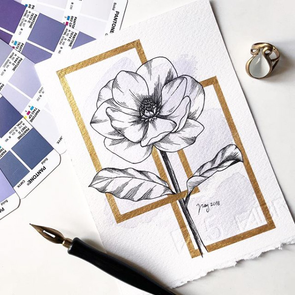 "Floral Illustration for ""Magnolia"" by Akbaly Prints Postcards Ink Watercolor"