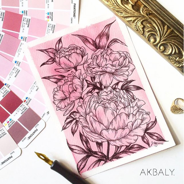 Illustration All In Fucsia Floral Collection Peonies Prints Postcards Ink Watercolor