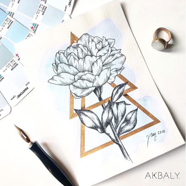"Floral Illustration for ""Peony"" by Akbaly Prints Postcards Ink Watercolor"