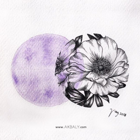 """Floral Illustration for """"Purple Peonies"""" by Akbaly Prints Postcards Ink Watercolor"""