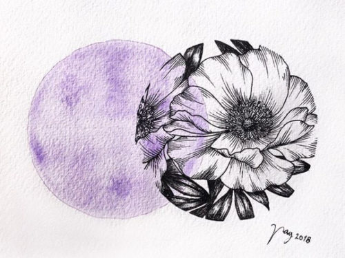 "Floral Illustration for ""Purple Peonies"" by Akbaly Prints Postcards Ink Watercolor"