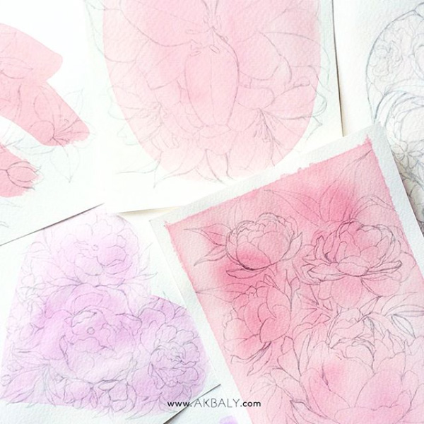 Illustration All In Fucsia Floral Collection Sketches Prints Postcards Ink Watercolor