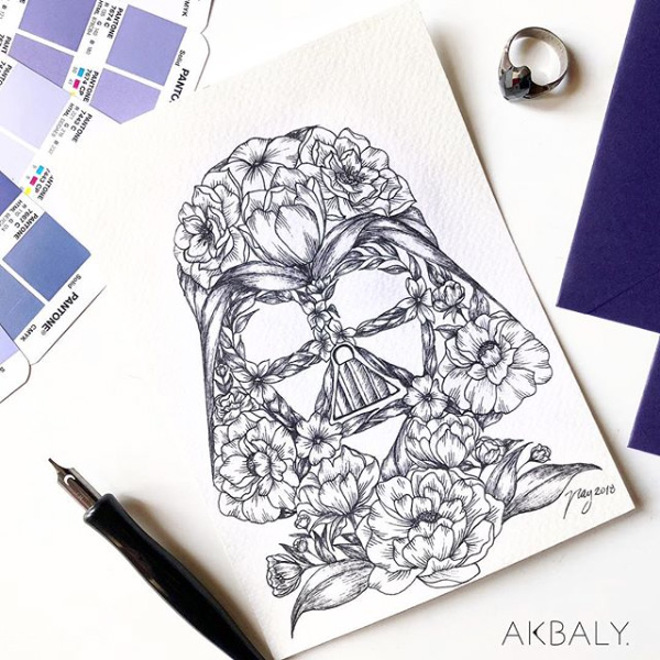 """Floral Illustration for """"Star Wars Day"""" by Akbaly Prints Postcards Ink Watercolor"""