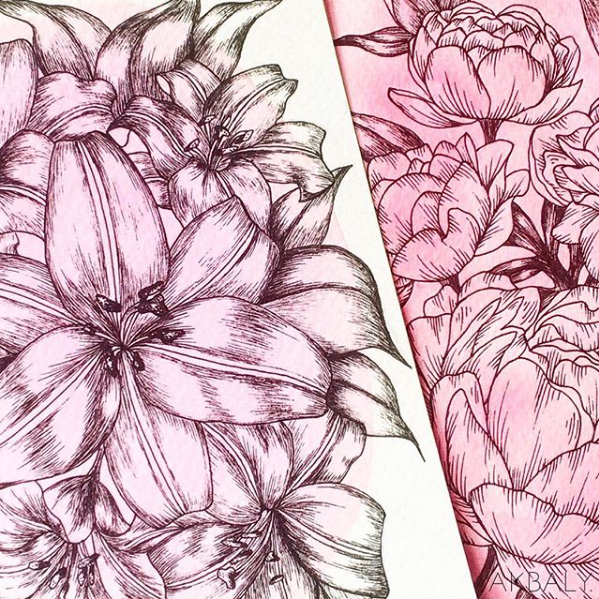 Illustration All In Fucsia Floral Collection Techniques Prints Postcards Ink Watercolor