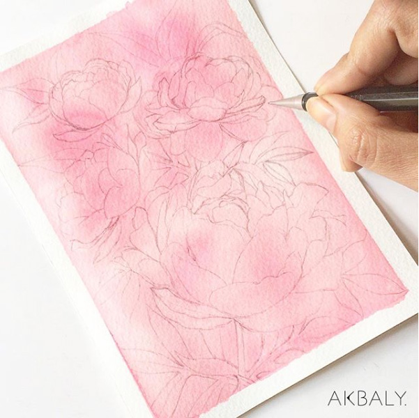 Illustration All In Fucsia Floral Collection The Process Prints Postcards Ink Watercolor