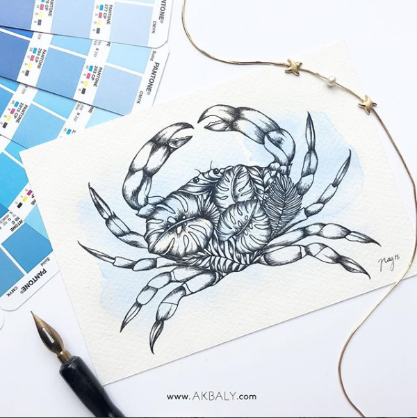 "Illustration ""Tropical Crab"" by Akbaly Prints Postcards Ink Watercolor"