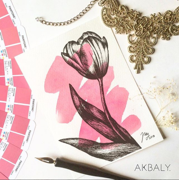 Illustration All In Fucsia Floral Collection Tulip Prints Postcards Ink Watercolor