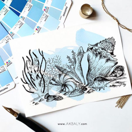 """Illustration """"Under The Sea"""" by Akbaly Prints Postcards Ink Watercolor"""