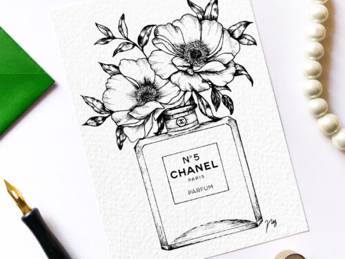 "Illustration ""Floral Fragrance I"" by Akbaly Prints Postcards Pen and Ink"