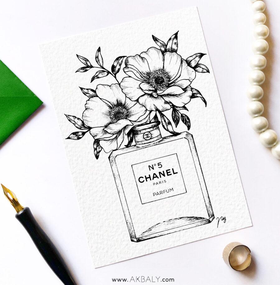 "Illustration ""Floral Fragrance I"" by Akbaly Prints Postcards Pen and Ink"