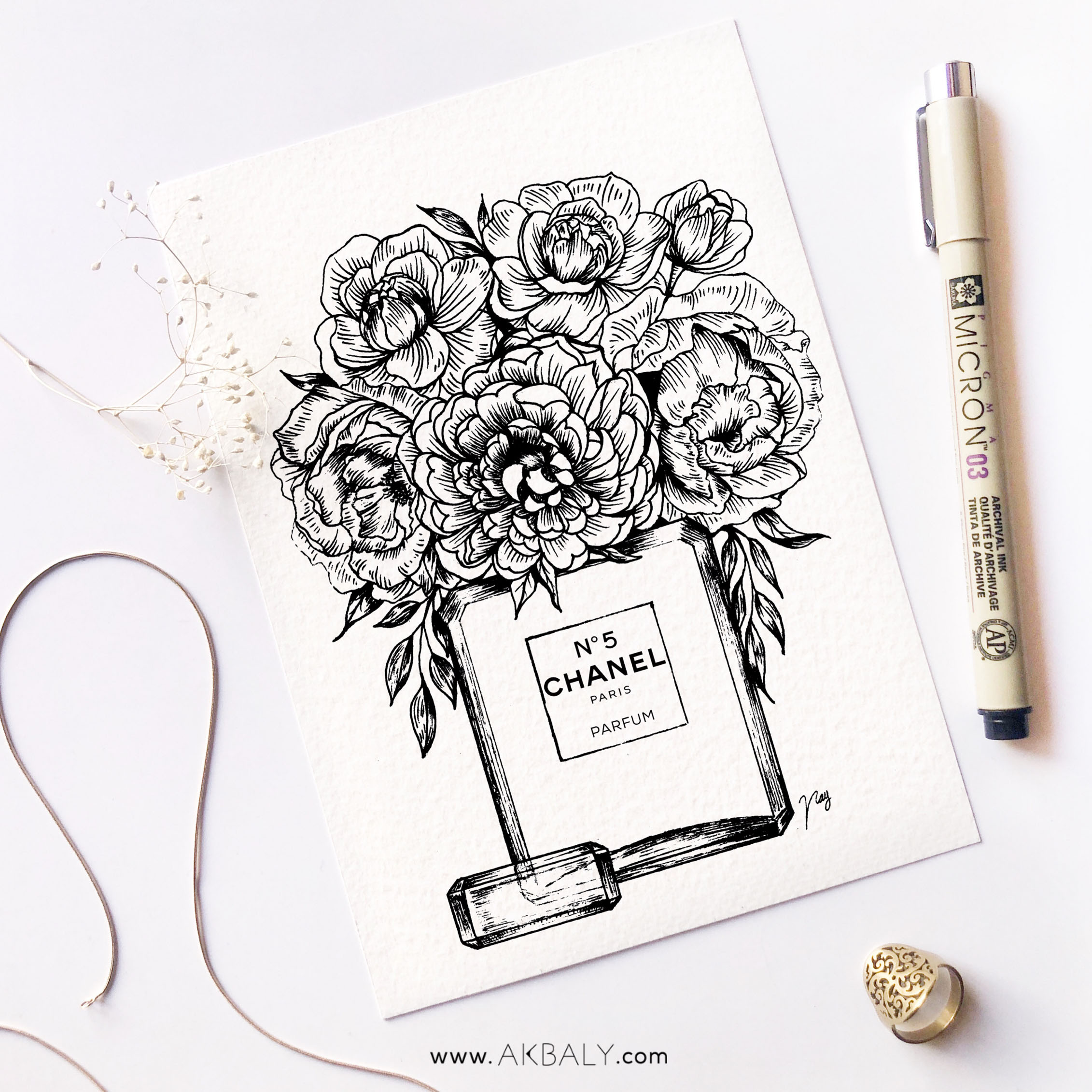 """Illustration """"Floral Fragrance III"""" by Akbaly Prints Postcards Pen and Ink"""