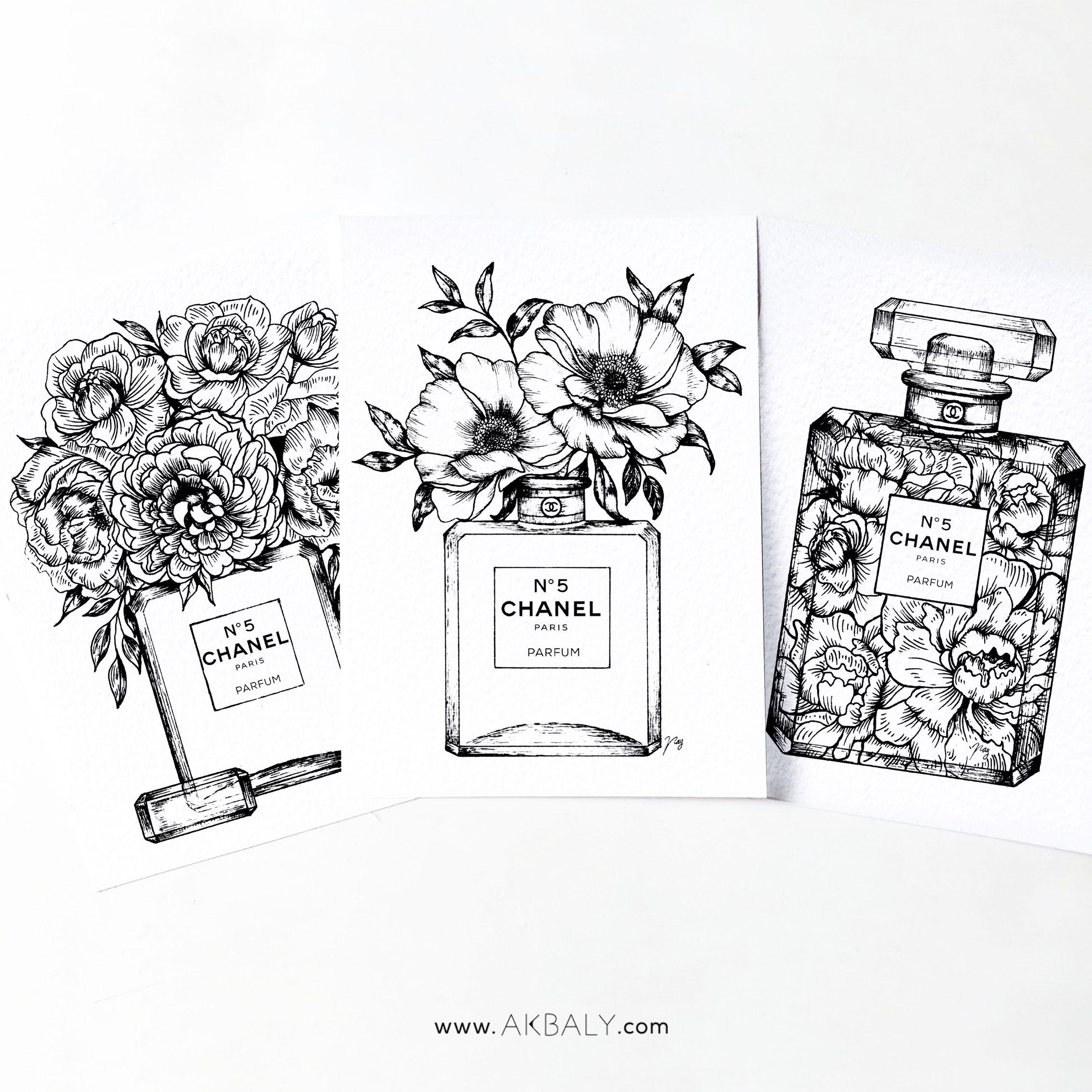 """Illustration """"Floral Fragrance Set"""" by Akbaly Prints Postcards Pen and Ink"""