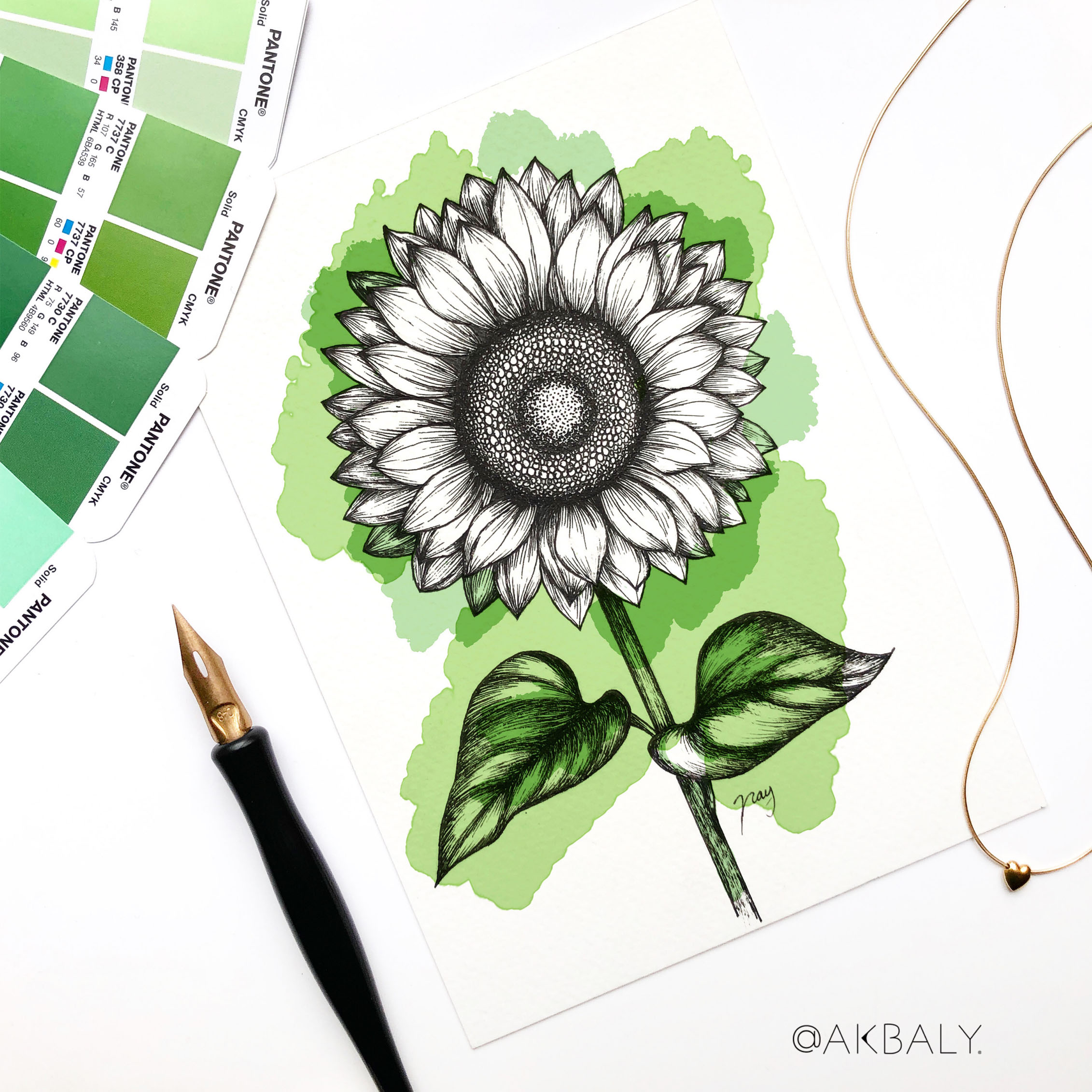 "Illustration ""Sunflower"" by Akbaly Prints Postcards Pen and Ink"
