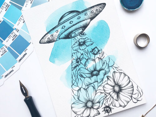 "Illustration ""Floral Abduction"" by Akbaly Prints Postcards Ink Watercolor"