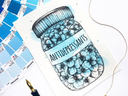 "Illustration ""Antidepressants"" by Akbaly Prints Postcards Ink Watercolor"