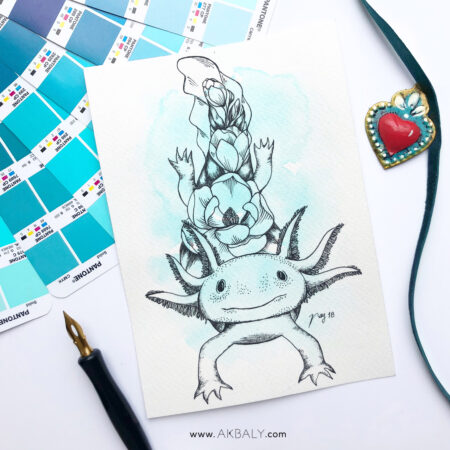 """Illustration """"Floral Axolotl"""" by Akbaly Prints Postcards Ink Watercolor"""
