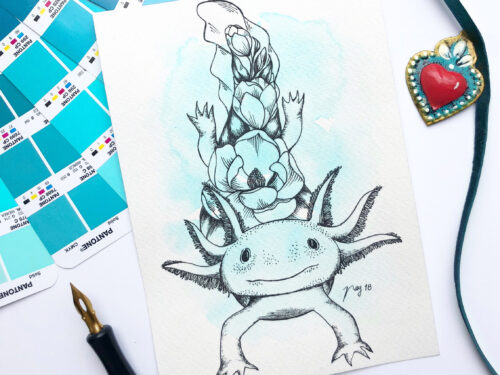 "Illustration ""Floral Axolotl"" by Akbaly Prints Postcards Ink Watercolor"