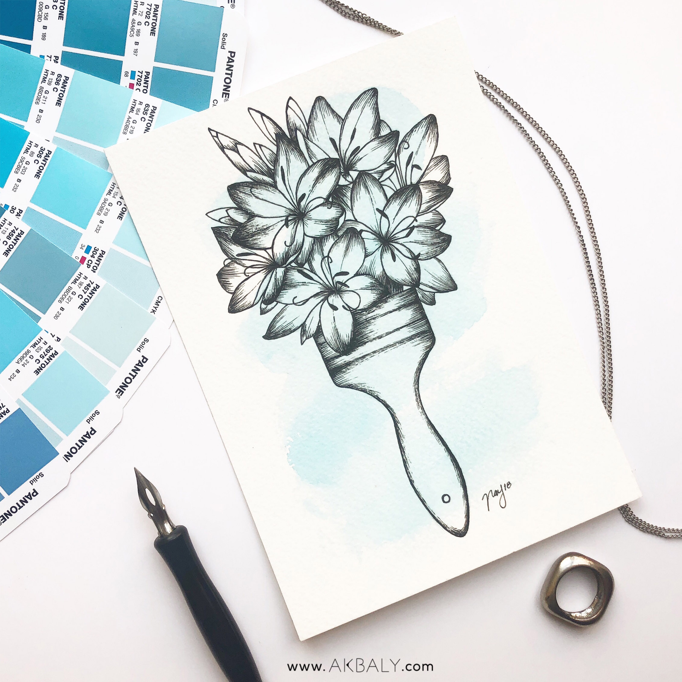 """Illustration """"Floral Brush"""" by Akbaly Prints Postcards Ink Watercolor"""