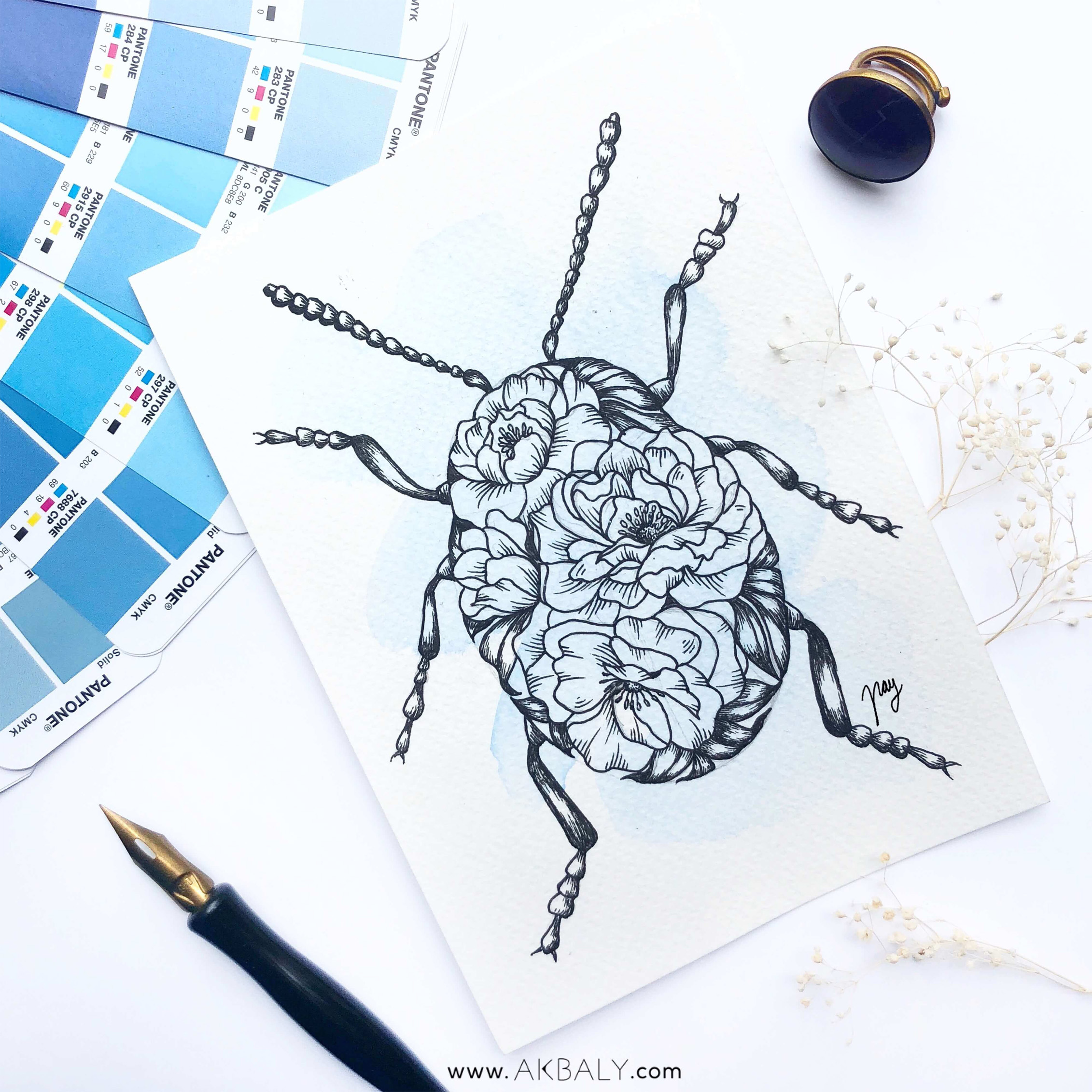 "Illustration ""Floral Bug"" by Akbaly Prints Postcards Ink Watercolor"