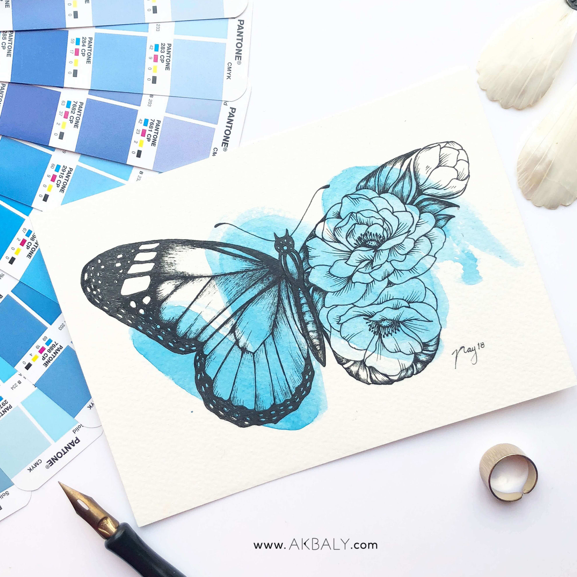 "Illustration ""Floral Butterfly"" by Akbaly Prints Postcards Ink Watercolor"