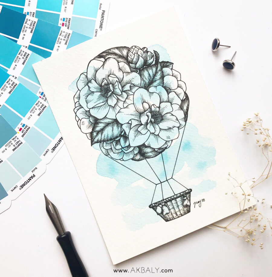 """Illustration """"Floral Hot Air Balloon"""" by Akbaly Prints Postcards Ink Watercolor"""