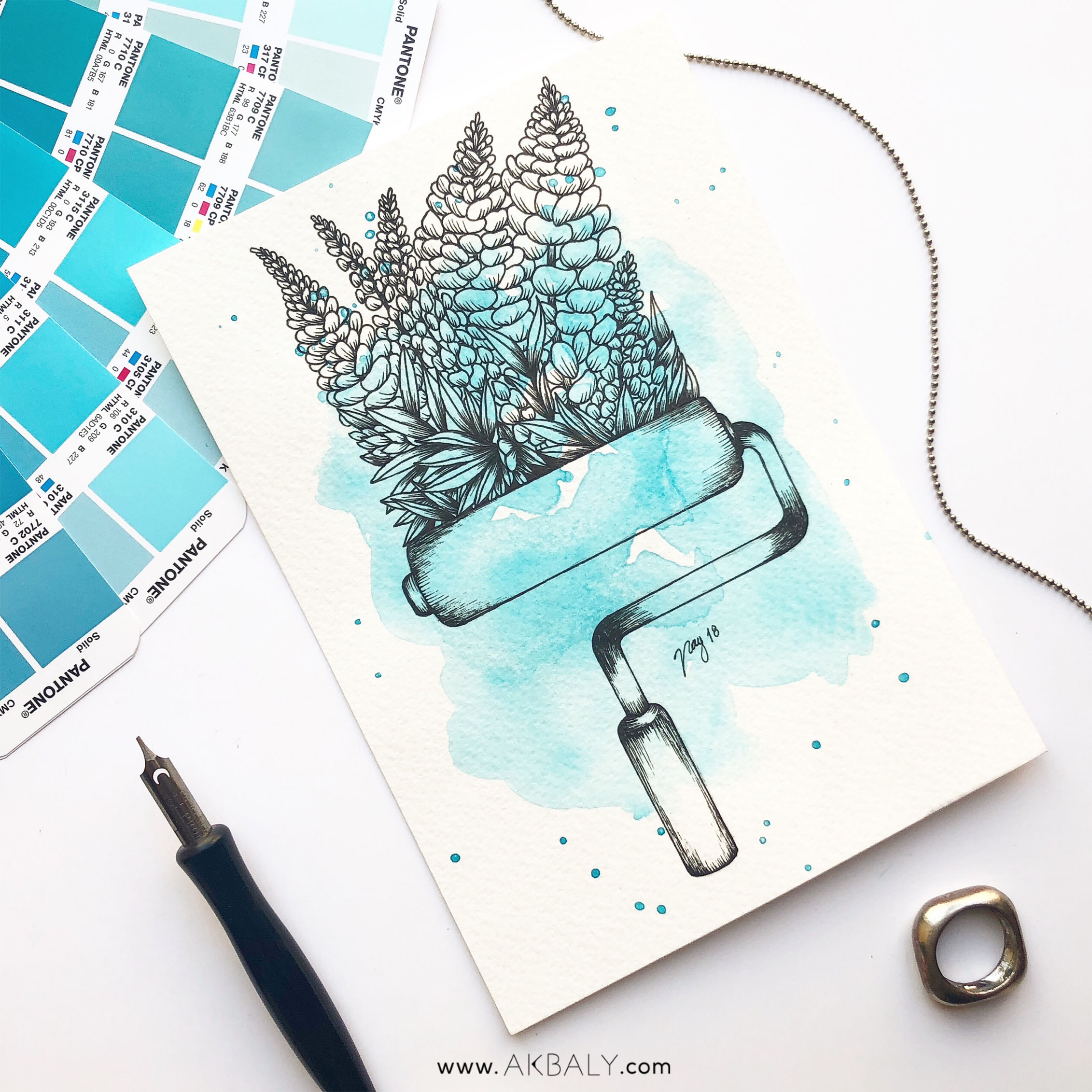 """Illustration """"Floral Painting Roller"""" by Akbaly Prints Postcards Ink Watercolor"""