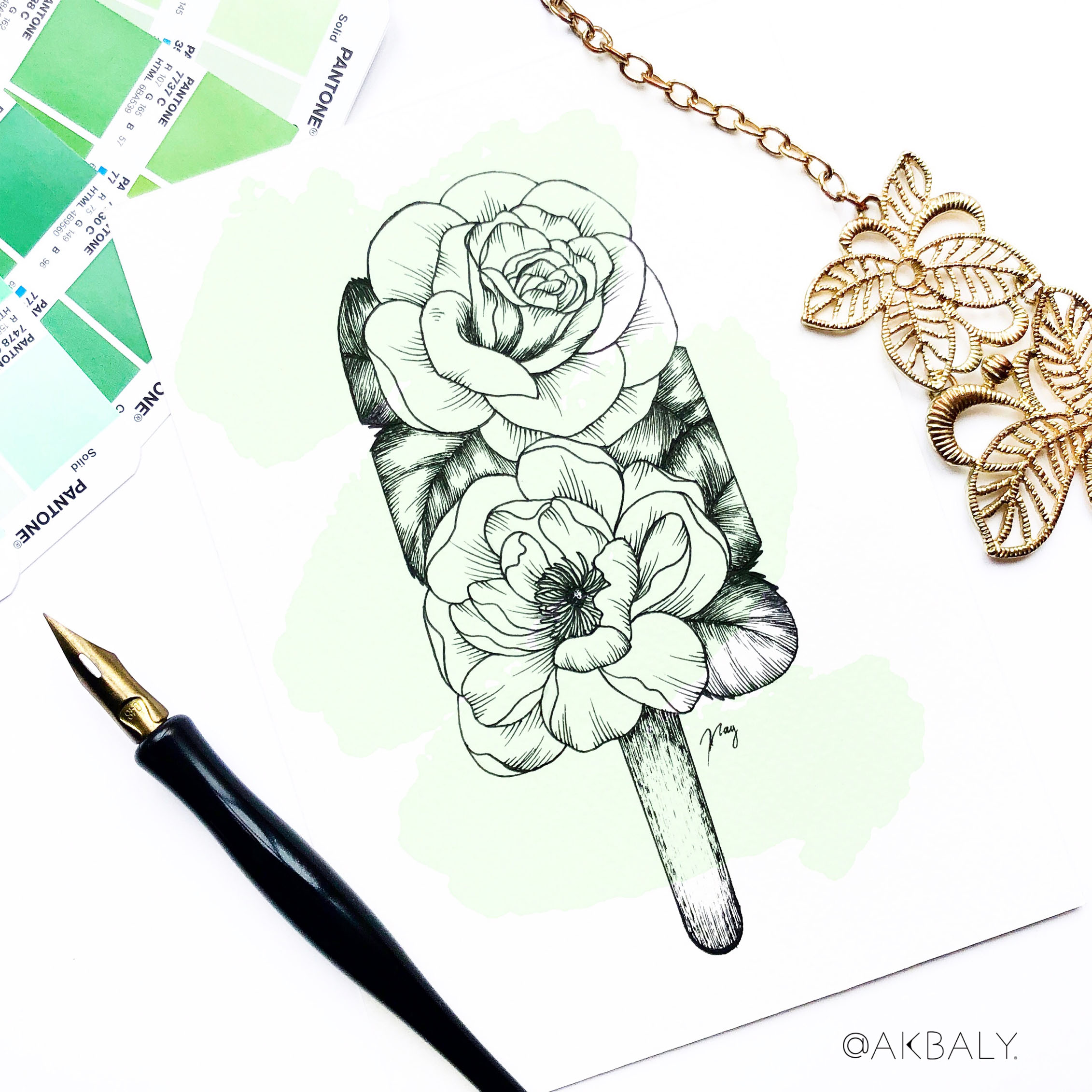 "Illustration ""Floral Popsicle III"" by Akbaly Prints Postcards Ink Watercolor"