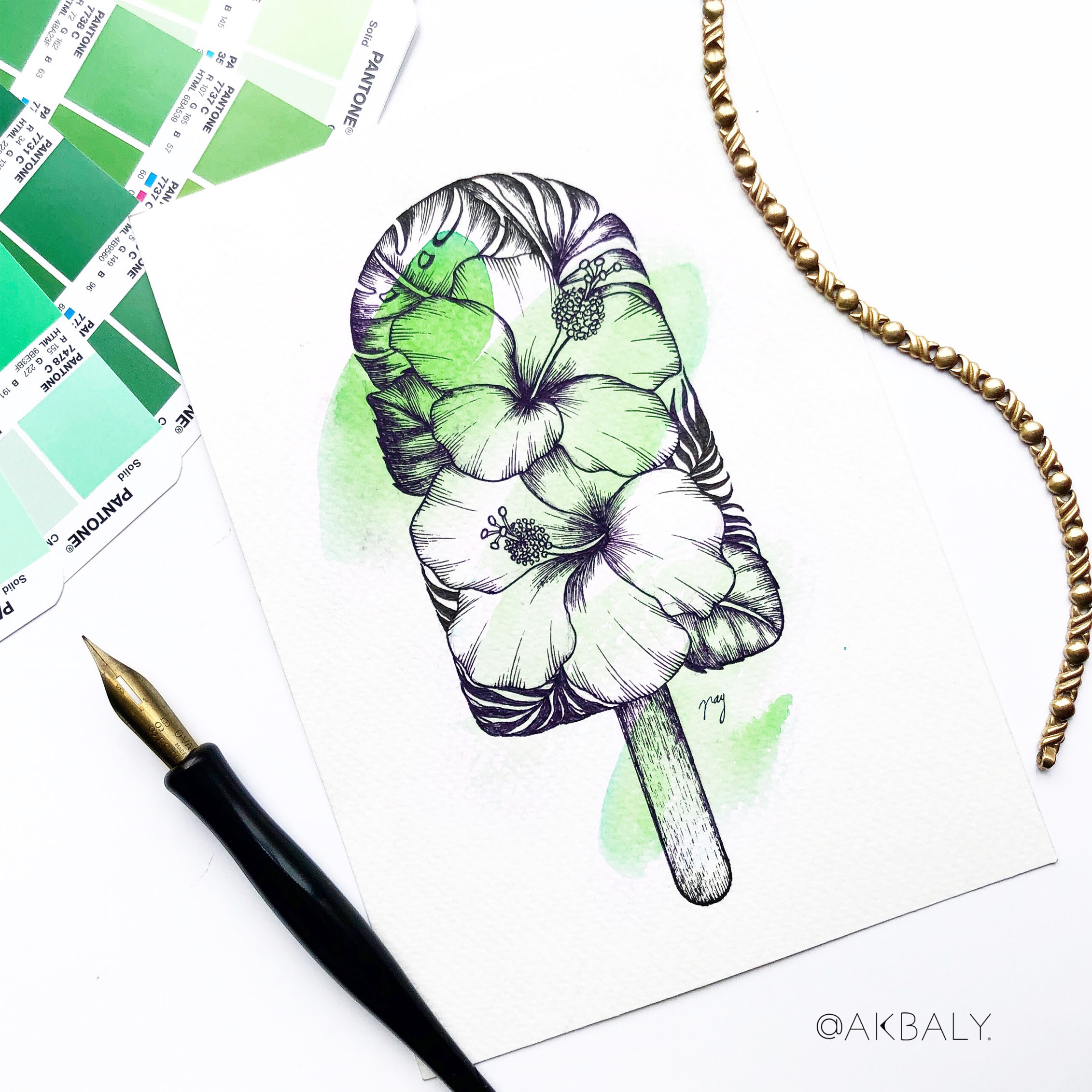 "Illustration ""Floral Popsicle II"" by Akbaly Prints Postcards Ink Watercolor"
