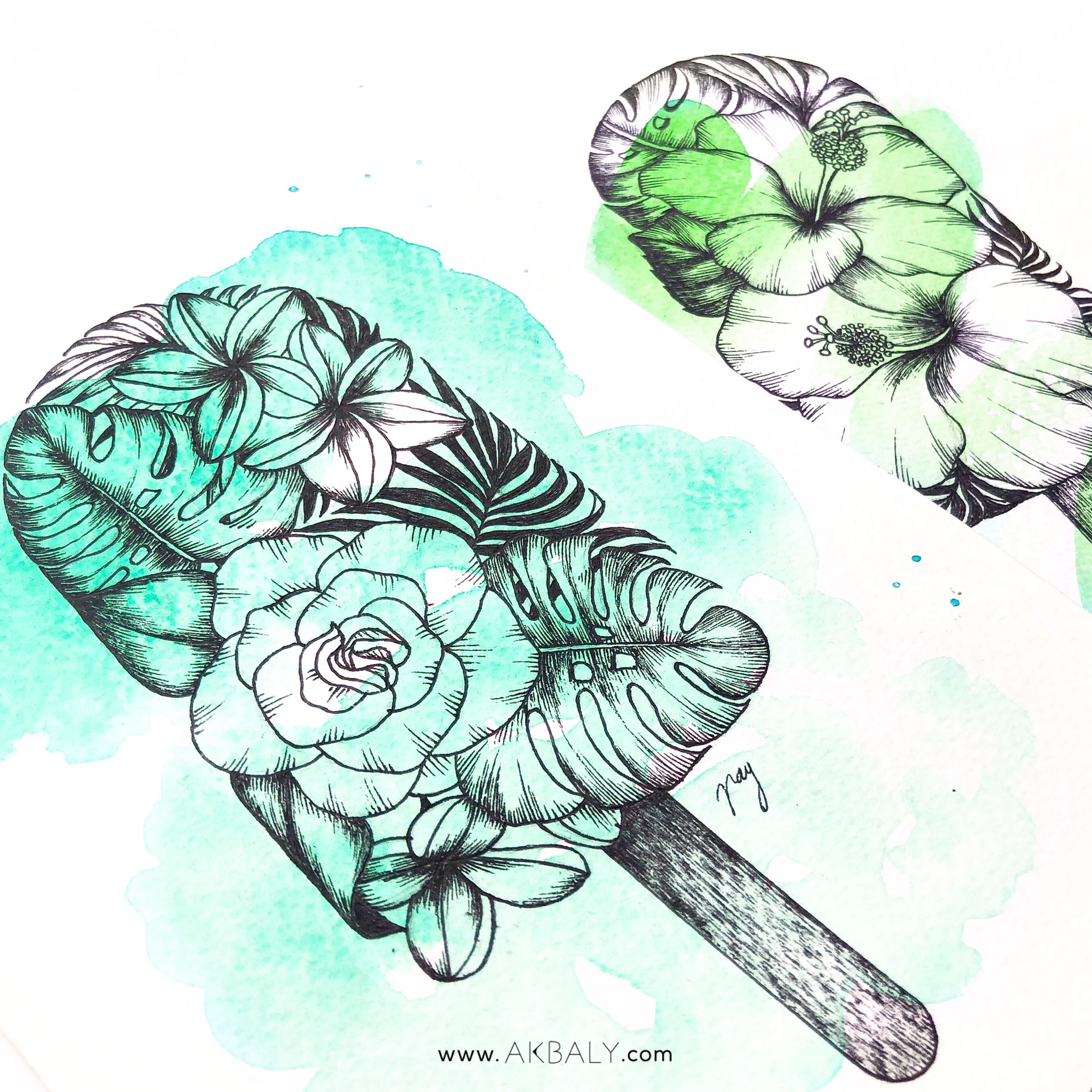 "Illustration ""Floral Popsicle IV"" by Akbaly Prints Postcards Ink Watercolor"
