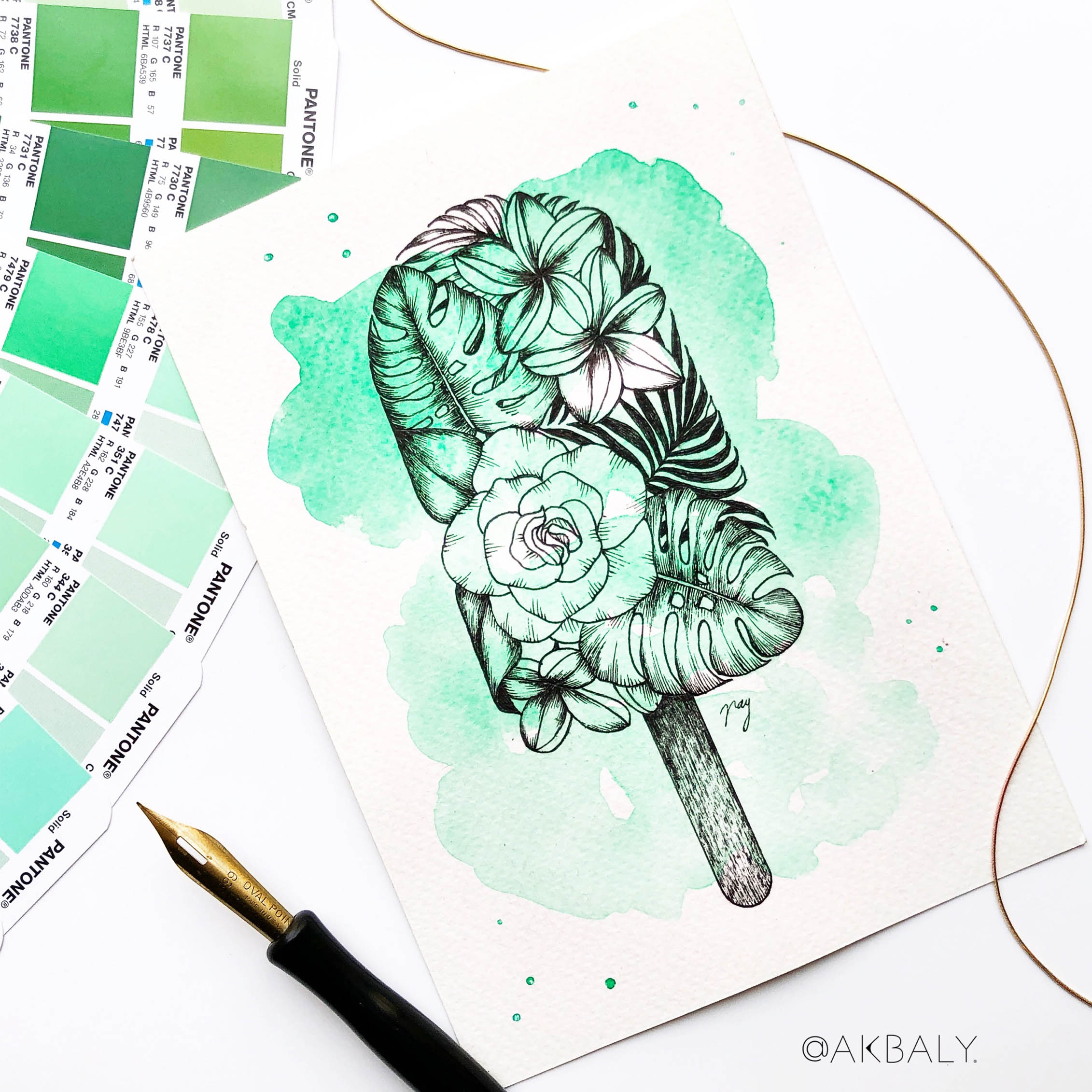 "Illustration ""Floral Popsicle I"" by Akbaly Prints Postcards Ink Watercolor"