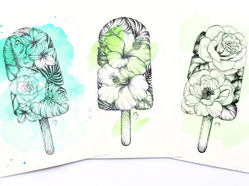 "Illustration ""Floral Popsicle Set"" by Akbaly Prints Postcards Ink Watercolor"