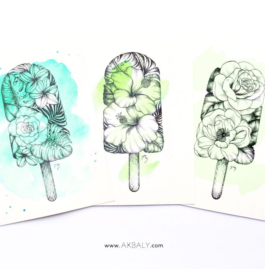 "Illustration ""Floral Popsicle Set"" by Akbaly Prints Postcards Ink Watercolor"