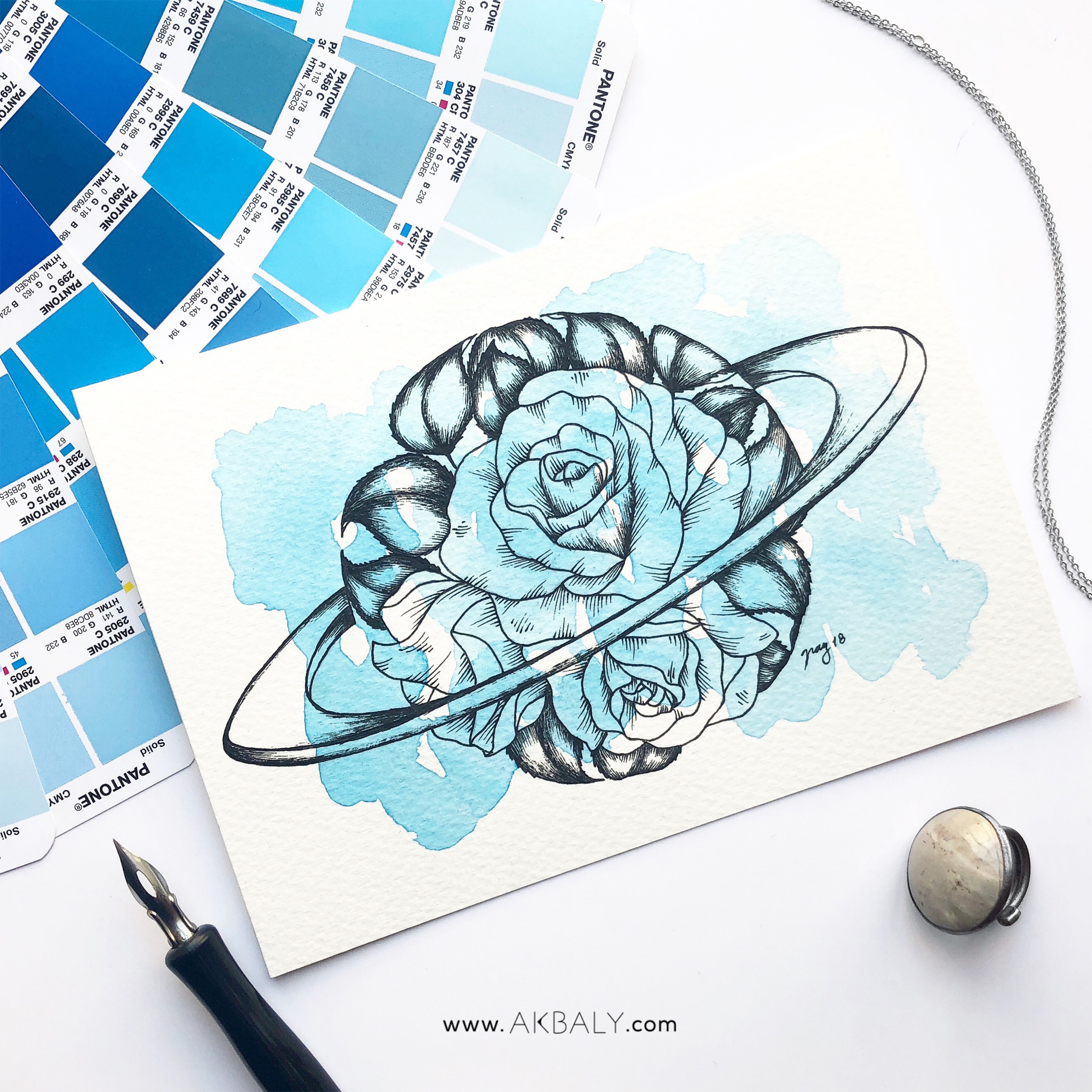 "Illustration ""Floral Saturn"" by Akbaly Prints Postcards Ink Watercolor"