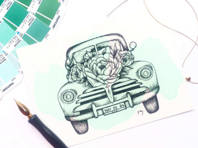 "Illustration ""Floral Vintage Car II"" by Akbaly Prints Postcards Ink Watercolor"