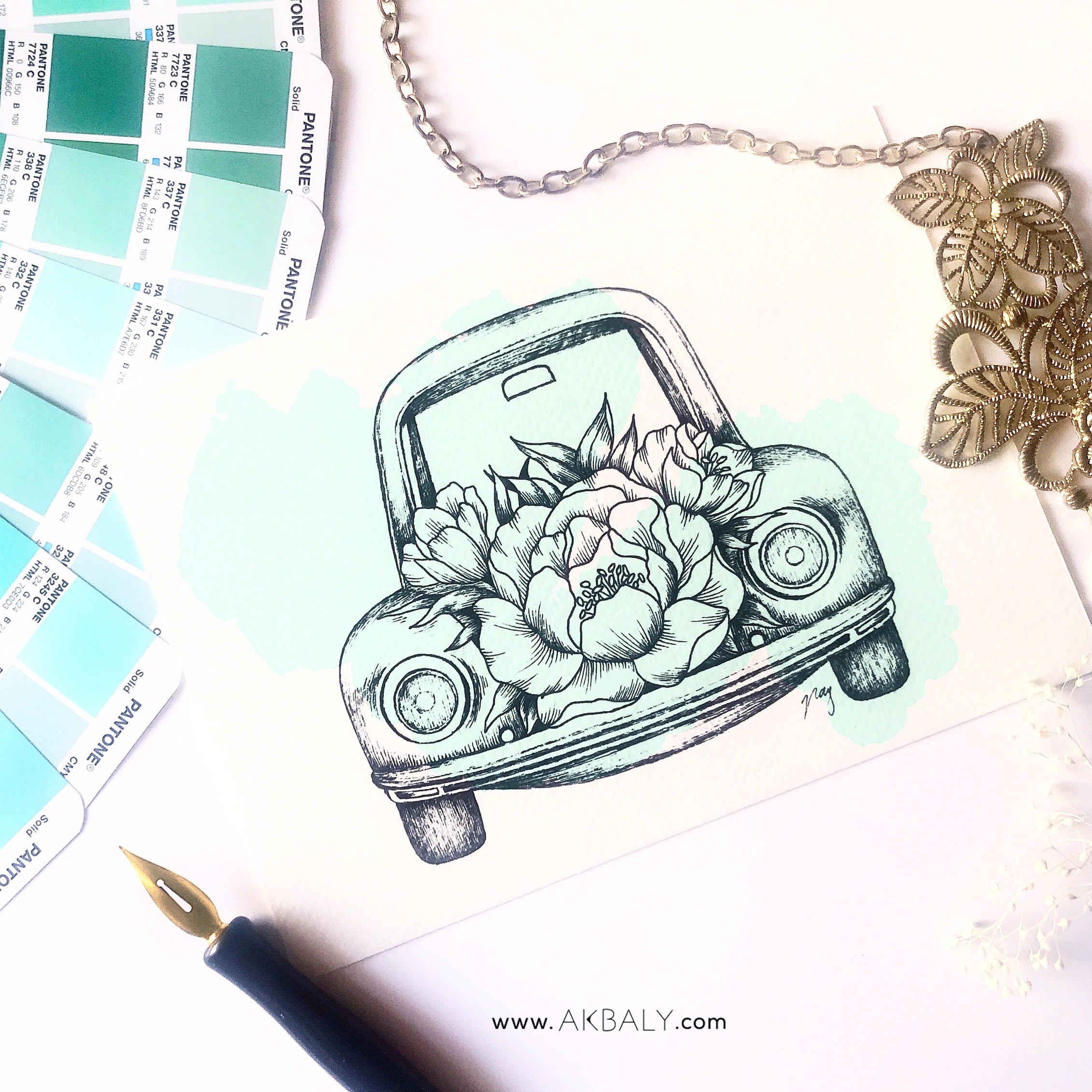 "Illustration ""Floral Vintage Car I"" by Akbaly Prints Postcards Ink Watercolor"