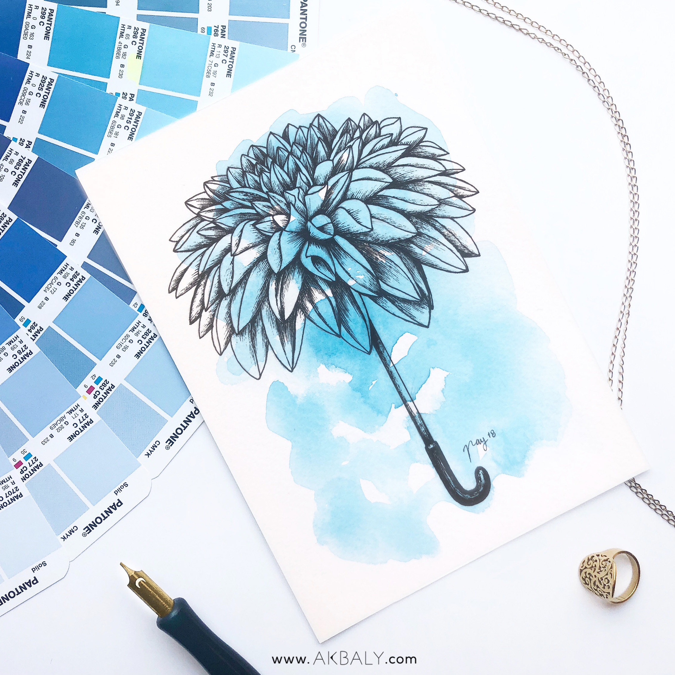 """Illustration """"Umbrahlia"""" by Akbaly Prints Postcards Ink Watercolor"""